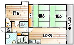 福岡県北九州市若松区高須東4丁目の賃貸アパートの間取り