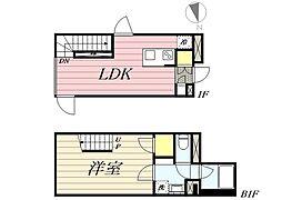 東京メトロ丸ノ内線 新宿三丁目駅 徒歩8分の賃貸マンション 1階1LDKの間取り