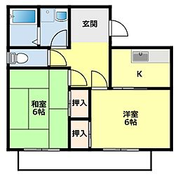 愛知県豊田市挙母町5丁目の賃貸アパートの間取り