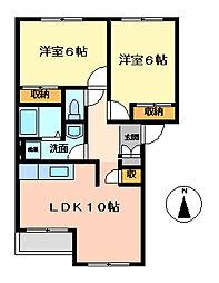 埼玉県日高市大字原宿の賃貸アパートの間取り