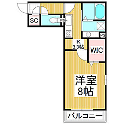 メゾン・ド・メイユール 3階1Kの間取り