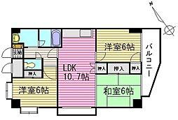 ラフィネ牛田本町[8階]の間取り