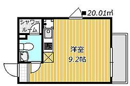 DAYBYDAY FUNABASI 1階ワンルームの間取り