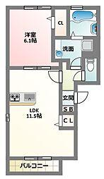 大阪府寝屋川市下神田町の賃貸アパートの間取り