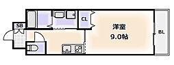 大阪府大阪市浪速区日本橋西1丁目の賃貸マンションの間取り