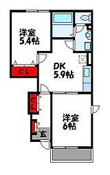福岡県糟屋郡須惠町大字植木の賃貸アパートの間取り