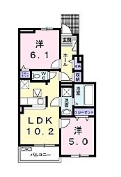 Cross Road Shin  (クロスロード シン) 1階2LDKの間取り