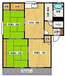 クレール東野A棟[1階]の間取り