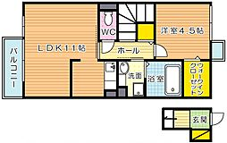 福岡県北九州市小倉北区泉台1丁目の賃貸アパートの間取り
