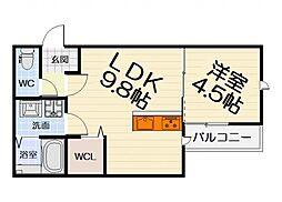 大阪府堺市堺区榎元町1丁の賃貸アパートの間取り
