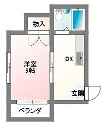 大阪府寝屋川市八坂町の賃貸アパートの間取り