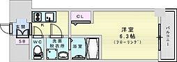 おおさか東線 JR淡路駅 徒歩7分の賃貸マンション 7階1Kの間取り