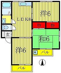 フラワーハーモニー[1-B号室]の間取り