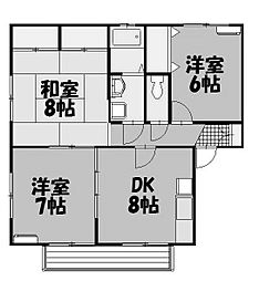 リヴレット玉川A棟[2階]の間取り