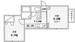 東京都江東区住吉2丁目の賃貸アパートの間取り