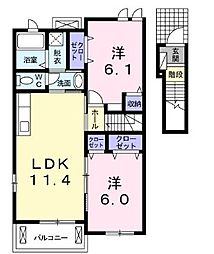 JR山陽本線 笠岡駅 徒歩10分の賃貸アパート 2階2LDKの間取り