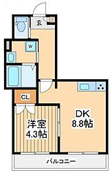 エバーグリーンフォレスト 4階1DKの間取り