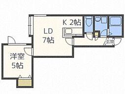 ラ・ルーチェ 2階1LDKの間取り