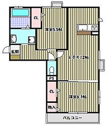 ボアソルテT B棟[2階]の間取り