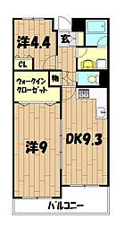 二俣川ハイツ[3階]の間取り