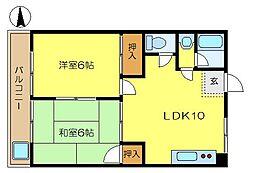 マンション和泉第三4階Fの間取り画像