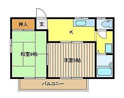 埼玉県新座市畑中3丁目の賃貸アパートの間取り
