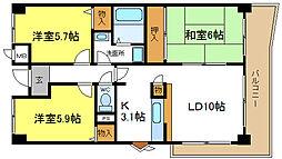 パークシャトー平野白鷺[3階]の間取り