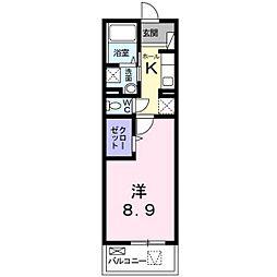 メゾン・ボヌールIII 2階1Kの間取り