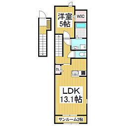 JR篠ノ井線 松本駅 バス20分 松岡下車 徒歩4分の賃貸アパート 2階1LDKの間取り