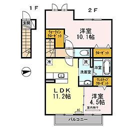 静岡県裾野市富沢の賃貸アパートの間取り