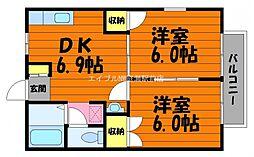 岡山県総社市門田の賃貸アパートの間取り