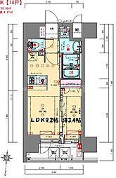プレサンス立売堀ベルヴィル 14階1LDKの間取り