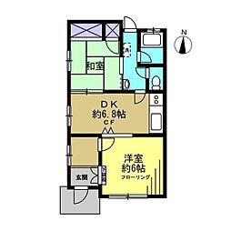 エトワール渡田新町[103号室]の間取り
