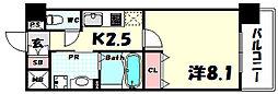 新神戸Vita 2階1Kの間取り