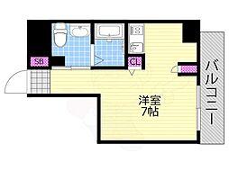 リンクハウス南堀江 5階1Kの間取り