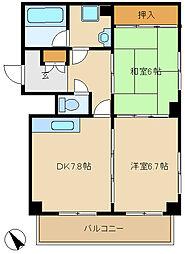 兵庫県尼崎市東園田町7丁目の賃貸マンションの間取り