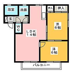 福岡県太宰府市観世音寺3丁目の賃貸アパートの間取り