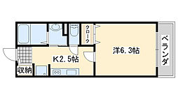 南海線 吉見ノ里駅 徒歩1分の賃貸アパート 2階1Kの間取り