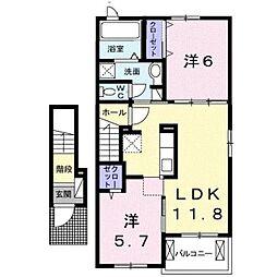 東武野田線 塚田駅 徒歩12分の賃貸アパート 2階2LDKの間取り