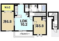 奈良県桜井市大字三輪の賃貸アパートの間取り