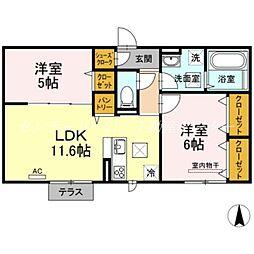 JR山陽本線 庭瀬駅 徒歩9分の賃貸アパート 1階2LDKの間取り