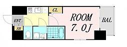 エスプレイス大阪リバーテラス 6階1Kの間取り