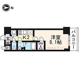 JR東海道・山陽本線 西大路駅 徒歩13分の賃貸マンション 5階1Kの間取り