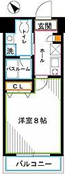 西武国分寺線 恋ヶ窪駅 徒歩4分の賃貸マンション 2階1Kの間取り