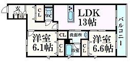 阪神本線 甲子園駅 徒歩7分の賃貸マンション 1階2LDKの間取り