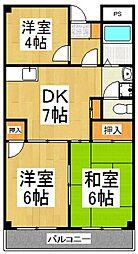 ハイツ久米川[3階]の間取り