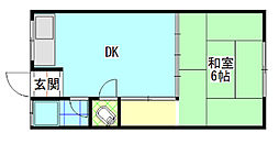 中之島アパート[104号室]の間取り