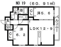 アンシャンテ松崎町[5階]の間取り