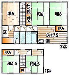 [一戸建] 福岡県北九州市戸畑区丸町1丁目 の賃貸【/】の間取り