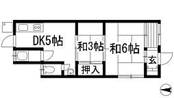 兵庫県宝塚市川面6丁目の賃貸アパートの間取り